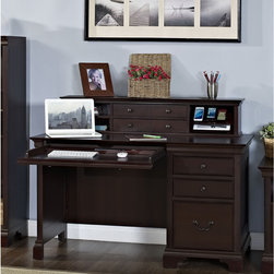 None - Mulberry Single Pedestal Desk and Isabella Hutch with Charging Station - This stylish and attractive desk set provides ample workspace,and offers both file and utility drawer storage. Fully finished front and back,this desk can be the centerpiece of your home office.