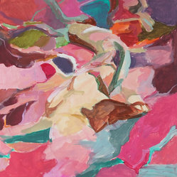 Late 20th C. Pink Oil Abstract by Anna Poole