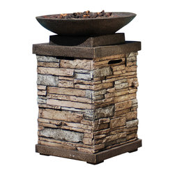 Bond - Bond 63172 Newcastle Gas Firebowl - Enjoy a relaxing chat with friends and kids around the Newcastle Firebowl. An impressive image of artistic stonework, The Newcastle delivers fabulous flames to keep you and your guests toasty during those outdoor get-togethers. This firebowl is the perfect centerpiece for a variety of patio and deck designs.