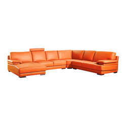 VIG Furniture - 2227 Orange Top Grain Leather Sectional Sofa - The 2227 sectional sofa will be the perfect addition for any smaller area looking for a touch of modern design. This sectional comes upholstered in a beautiful orange top grain leather in the front where your body touches. Skillfully chosen match material is used on the back and sides where contact is minimal. High density foam is placed within the cushions for added comfort.