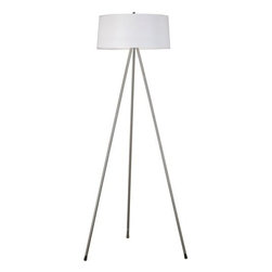 Kenroy Home - Kenroy Home 20331BS Stilts Floor Lamp - Stilts Floor Lamp with White Drum ShadeA perennially popular tripod design is updated with a shallow, drum shade for an ultra-modern appearance.