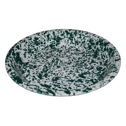 Crow Canyon Home - Enamelware Pie Pan, Green and White - Enamelware Pie Pan Size: 10 Inches in Diameter x 1.5 Inches Deep D42