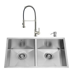 VIGO Industries - VIGO Undermount Stainless Steel Kitchen Sink, Faucet and Dispenser - If sophistication and style fits your taste, then show it with a VIGO kitchen sink, faucet and soap dispenser.