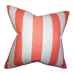 """The Pillow Collection - Acantha Stripes Pillow Pink 20"""" x 20"""" - Create a contemporary vibe to your home with this striking accent pillow. Featuring a stripe pattern in shades of pink and white, this toss pillow is perfect for your living room or bedroom. Pair this indoor pillow with solids and other patterns for a fresh decor style. Made of 100% high-quality cotton fabric."""