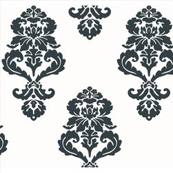York - Bl0396 Graphic Damask Black And White Medallion Damask Wallpaper - BL0396 Graphic Damask from Black & White by Ashford House is a black , white black and white , medallion , damask wallpaper.  This collection from York consists of prepasted and unpasted wallpapers.