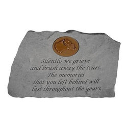 Silently We Grieve Memorial Stone With Personalized Insert - A decorative insert with your choice of pattern makes a lovely accent for the Silently We Grieve Memorial Stone With Personalized Insert. A beautiful way to memorialize your loved one, this garden stone has a durable, weatherproof design to last a lifetime.About Kay Berry ProductsProudly hand-cast in the USA, Kay Berry products offer kind sentiments and quality decor. From whimsical to poignant, the verses on Kay Berry products are thoughtful and serve as a fine way to add both beauty and comfort wherever they're placed. Artisans craft Kay Berry designs from actual stone originals. Kay Berry products are meticulously reproduced using materials and methods developed in ancient Rome. Since the family-owned company's inception in 1991, pride and honor go into each and every Kay Berry item.Please note this product does not ship to Pennsylvania.
