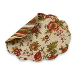C & F Enterprises  Inc. - Sydney Quilted Placemat - Quilted placemat and napkin add a warm floral to your table and reverse to a fashionable stripe when you're in the mood for something different. 100% cotton.