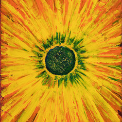 """SUNFLOWER   16"""" x 20 - This is a blossom bursting with golds and oranges and have petals flowing right off the canvas. The center is textured with dark green that give it depth. I painted this flower with acrylic paint and a palette knife on canvas."""