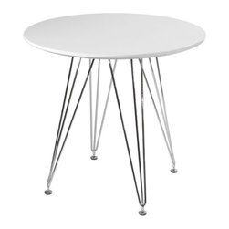 Paris Tower Round Table, White - Our Paris Tower Round Table is formed from sturdy chrome steel legs, creating a long lasting base. The table top is comprised of Medium Density Fiberboard, coming in black or white, making the table easily portable from room-to-room. Simple assembly required, making this table easy for anyone to order/assemble. This table comfortably sits 1-2 persons.