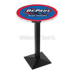 Holland Bar Stool - Holland Bar Stool L217 - Black Wrinkle Depaul Pub Table - L217 - Black Wrinkle Depaul Pub Table belongs to College Collection by Holland Bar Stool Made for the ultimate sports fan, impress your buddies with this knockout from Holland Bar Stool. This L217 DePaul table with square base provides a commercial quality piece to for your Man Cave. You can't find a higher quality logo table on the market. The plating grade steel used to build the frame ensures it will withstand the abuse of the rowdiest of friends for years to come. The structure is powder-coated black wrinkle to ensure a rich, sleek, long lasting finish. If you're finishing your bar or game room, do it right with a table from Holland Bar Stool. Pub Table (1)