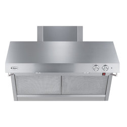 "GE Monogram - GE Monogram® 36"" Stainless Steel Professional Hood - A GE Monogram range hood provides the power necessary to capture the smoke and steam produced by high-performance cooking equipment. All hoods are equipped with a variable-speed fan that helps reduce energy usage and sound levels by operating continuously at a low speed, reaching maximum power only as needed for boiling, sautéing and stir-frying."