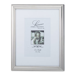 Lawrence Frames - Tailored Metal Silver 8x10 Matted for 5x7 Picture Frame - Elegant tailored silver metal frame.  This frame has a delicate embossing of ribbing around the inside panel which give a subtle but fabulous decorative look.  High quality black  velvet backing with easel for vertical or horizontal tabletop display, and comes with hangers for vertical or horizontal wall mounting.    Heavy weight metal picture frame is made with exceptional workmanship and comes individually boxed.   In this style the 8x10 size comes with a white acid free bevel cut mat for a 5x7 photo.