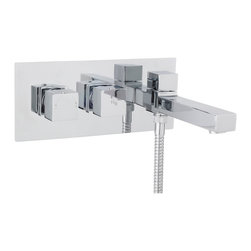Hudson Reed - Kubix Chrome Plated Brass Thermostatic Wall Mounted Tub Shower Mixer - Featuring clean, geometric lines the Hudson Reed Kubix thermostatic wall mounted tub shower mixer is perfect for providing a neat, minimal finish to your bathroom. This stylish tub shower mixer has been made from solid brass with a chrome plated finish to blend in seamlessly with any decor.  With easy to use controls that operate the flow and temperature of the water this tub shower mixer has a built-in anti-scald device for total peace of mind.  Please note: a shower handset and hose are not included.