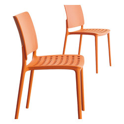 Bonaldo - BLUES Stacking Side Chair, Orange - Innovative and dynamic stacking chair, made through gas-assisted injection moulded Polypropylene. Suitable for indoor or outdoor use.