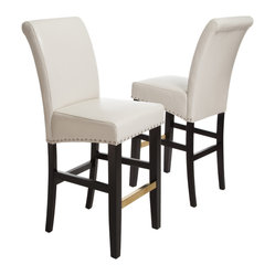 Great Deal Furniture - Carmen Ivory Leather Bar Stool (Set of 2) - The Carmen Leather Bar Stool is great for your kitchen or dining space. Upholstered in bonded leather, and accentuated with bronze colored studs, you'll enjoy the look and feel of this stool.