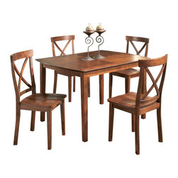 "Homelegance - Homelegance Henley 5-Piece Dining Room Set with X-Back Chairs - The Henley dining table collection offers the flexibility many require for the more intimate dining spaces in today's homes. Tables are available in 48""L and 60""L and chairs are available in two designs to balance with your home decor. Available in cherry finish in cherry veneers and select hardwoods."