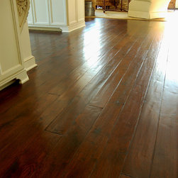 """French Oak, Footworn Texture, Antique Seal Brown - 5"""" French Oak Plank, Footworn texture with hand pillowed edges. Hand applied Antique Seal Brown Tea Stain, Signature Finish."""