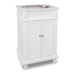 Hardware Resources - 22-7/8 in. Douglas White Vanity - This 22 7/8 inch wide MDF vanity features a sleek white finish  clean lines and tapered feet to give a modern feel.  A perfect alternative to a pedestal sinks.  A large cabinet provides storage.