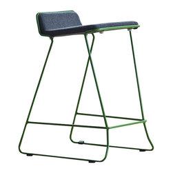 "Nuans Design - Bleecker Counter Stool, Charcoal Wool with Green Metal Frame, Counter Seat 25"" H - Bleecker Counter Stool"