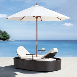 ZUO - Zuo Hampton Outdoor Bed - Bring a little tropical bliss poolside or to your garden when simply enjoying the sweet sensations of summer. This outdoor day bed is a romantic, sturdy setup for you and your sweetheart. A protective umbrella and matching drink side stands make this twin chaise lounge sing.