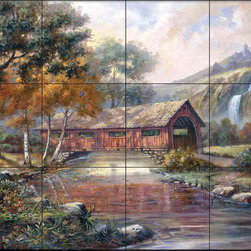 The Tile Mural Store (USA) - Tile Mural - Cv -  Gold Leaf Bridge - Kitchen Backsplash Ideas - This beautiful artwork by Carl Valente has been digitally reproduced for tiles and depicts a covered bridge nestled in the woods.  This woodland tile mural would be perfect as part of your kitchen backsplash tile project or your tub and shower surround bathroom tile project. Wood land images on tiles add a unique element to your tiling project and are a great kitchen backsplash idea. Use a woodland scene tile mural for a wall tile project in any room in your home where you want to add interesting wall tile.