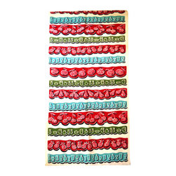 Kitchen Towel - Fruit Punch, vintage kitchen towel.Heavy cotton printed towel. 1950's images of Pineapples, Cherries, Pears, and wine glasses. Colors of teal,red, green, and black on creamy white linen.