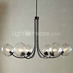 60W Traditional Chandelier with 6 Lights and Glass-Bubble Shade - USD $ 309.99