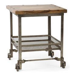 Go Home - Working Man's Side Table - Working Man's Side Table can bbe use in the kitchen, dining room, living room, or anywhere you can roll it to in your home. It has extra storage space with the metal basket shelf that sits a few feet underneath the main work space.Its top is  made from wood and base with steel and rubbed finish.