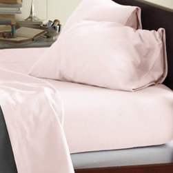 Garnet Hill - Garnet Hill Signature Flannel Comforter Cover - Double/Queen - Pink Pearl - This Signature Flannel bedding is crafted in Germany with a tighter weave than most flannels, making it weightier and more durable. It is gently brushed multiple times on each side until it meets our exacting standards for softness. Cases have an inner flap to conceal the pillow for a neater, more finished look. Our universal fitted sheet is elasticized all the way around for an easier fit. 12-inch pocket depth. Monogramming available.