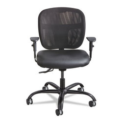 Safco - Safco Vue Intensive Use Mesh Task Chair, Vinyl Seat, Black - Rated for 24/7 use. Back has ample support and ergonomic shaping to provide comfort and reduce fatigue; breathable nylon mesh keeps you cool and comfortable throughout every workday no matter how many hours you put in. Solid construction supports up to 500 lbs.