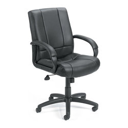 "Boss - Caressoft Executive Mid Back Chair - Beautifully upholstered with ultra soft and durable Caressoft upholstery. Executive Mid Back styling with extra lumbar support. Padded armrests covered with Caressoft upholstered. Large 27"" nylon base for greater stability. Upright locking position. Pneumatic gas lift seat height adjustment. Adjustable tilt tension control. Hooded double wheel casters. Matching guest chair model (B7909)."