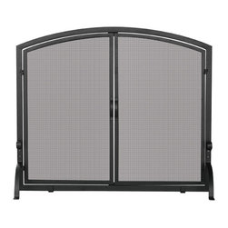 "Blue Rhino - UFSnglPnl WI Scrn w Drs Md Blk - Uniflame S-1062 33"" High Medium Sized Single Panel Black Wrought Iron Screen with Doors ...A single panel on this fireplace screen makes access to your fireplace easier. The contemporary iron screen has a smooth top and the curved iron front legs add stability. Uniflame's collection of specialty line fireplace accessories are of superior craftsmanship. Enhance the ambiance of your hearth with this beautiful screen.  33"" x 39""  This item cannot be shipped to APO/FPO addresses. Please accept our apologies."