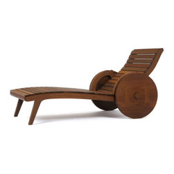 Carro de Boi Chaise - I just love the exaggerated size of the wheels on this chaise! They give the piece a unique look that would be terrific around a pool. Also, this is made in Brazil, where there is a bevy of designers making really cool-looking outdoor furniture.