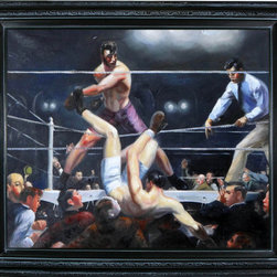"overstockArt.com - Bellows - Dempsey and Firpo Oil Painting - 20"" x 24"" Oil Painting On Canvas A powerful re-telling of the fight for the 1923 heavyweight championship; George Wesley Bellows' Dempsey and Firpo reflects the ferocity with which the title is fought and won in this scene played out in his sensational painting. A true piece of American history taken from a live event will beautifully adorn any sportsman's home. ""...the most acclaimed American artists of his generation."" Columbus Museum of Art George Wesley Bellows (1882-1925) was an American painter who lived and produced most of his work at the start of the twentieth century. Known for bold depictions of urban life in New York City, Bellows captures American pastimes based on his love of athletics. Bellows' style mixes dark atmospheres with bright light and geometrical shapes with long brushstrokes giving his scenes a sense of perpetual, fluid motion. These hallmarks of his style allowed Bellows to depict the grittiness of American society, a popular movement amongst turn-of-the-century realist artists. Although boxing scenes are Bellows' major contribution to art history, he later cultivates a more refined style and develops his use of light and dark to characterize the griminess of urban life fueled by the political and social themes of his time."