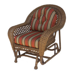 WickerParadise - Montauk Wicker Chair Glider - You'll wonder why you didn't get one sooner as you glide your stress away in this magnificent wicker chair. The comfy back and bottom cushions support your back, while the gentle back and forth movement of the glider creates a soothing effect.