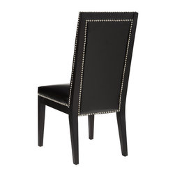 "Sunpan Modern - St. Tropez Parsons Chair (Set of 2) - Generously proportioned dining chair is the definition of contemporary elegance. Features: -Material: Bonded leather.-Frame: Solid wood.-With modern silver nail head trim on back and sides.-Finish: Matte black.-Please note that the leg color on Sunpan dining chairs does not always match the dining table color.-Please note that although every attempt has been made to ensure accuracy, all dimensions are approximate and colors may vary.-Distressed: No.Dimensions: -Seat height: 19"".-Overall Product Weight: 21 lbs.Warranty: -This item is deemed acceptable for both residential and nonresidential environments such as restaurants, hotels, lounges, offices and reception areas. Please note that this item carries the manufacturer's standard ONE YEAR WARRANTY from the date of purchase. Please contact Wayfair customer service or sales representatives for further information."