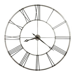 Howard Miller - Stockton Wall Clock in Brushed Nickel Finish - This 49 in. diameter wrought-Iron wall clock is finished in brushed aged Nickel with applied Charcoal Black Roman numerals. The hour and minute hands are finished in Charcoal Black and feature an open fret-cut diamond style. Clock ships in two easy-to-assemble sections. Quartz, battery operated movement. Requires 1 AA battery (not included). 49 in. Dia. x 2 1/4 in. D