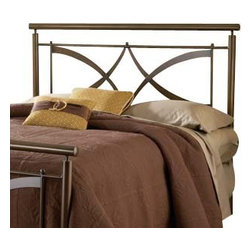 Hillsdale Furniture - Hillsdale Marquette Metal Headboard with Rails in Brushed Copper - Full / Queen - Contemporary and clean, the Marquette bed is a standout in home decor. The brushed copper finish adds warmth to the modern design features in the headboard and footboard. Small ball finials accentuate the arching crisscross design creating unique look for your bedroom. Constructed of heavy gauge tubular steel.