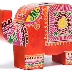 Sitara Collections - Cruelty-Free Shanti Leather Elephant Bank - Think Outside the Piggy Bank Box with this adorable Leather Elephant Bank That Stashes Coins While also Serving as a Colorful Room accent. Hand-Crafted of Cruelty-Free Leather (From animals Who Died Naturally), our Lovable Little Eelphant is a Vibrant Reminder That Saving Momey Doesn'T Have to Be Boring. Colors/Pattern: Elephant Handcrafted in india Type: Piggy Bank Snap Closure om Side allows for Easy Removal of Coins Material: Cruelty-Free Leather Dimensioms: 5.25 inches Wide X 6 inches High X 1.5 inches Deep.