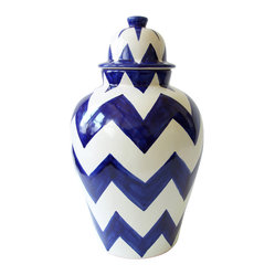 Zigzag Tibor, Blue - Catch some zzz's with this zigzagging tibor, a traditional Mexican decoration that borrows its shapely silhouette from a ginger jar. It has bold, graphic chevron stripes that will add a serious shot of color and pattern to your space, and looks equally at home on a shelf our outdoors on the patio.