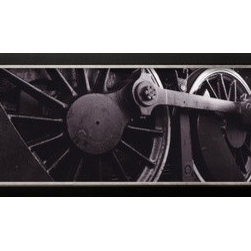 Artcom - Steam Locomotive Wheels by  Panoramic Images - Steam Locomotive Wheels by  Panoramic Images is a Framed Photographic Print set with a Basel Black and Silver wood frame.