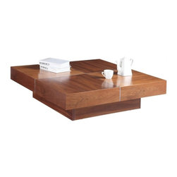 Modern Square Walnut Veneer Coffee Table Annie - Coffee table Annie features simple square form. The entire surface is covered with walnut wood veneer. Aluminum accent inserts add style to the coffee table look.