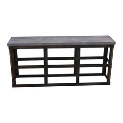 Modern Industrial Reclaimed Wood and Rustic Metal Console Table - Description