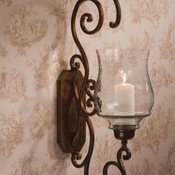 Dessau Home - Bronze Iron Scroll Candle Wall Sconce with Hammered Glass - - 39H 14.5D 7.5W   - Please note - candle not included - Accessories not included Dessau Home - ME2262