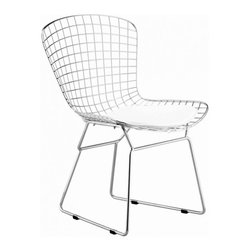 Bertoia Style Chair, White Pad - With his iconic seating collection, Harry Bertoia transformed industrial wire rods into a new furniture form. With its unique bent and welded steel rod construction the chair is exceptionally strong and surprisingly comfortable. The removable leatherette seat cushion is padded with a foam insert for softness. The brightly chromed steel frame pairs nicely with all other modern classic furnishings. The wide, contoured chair is suited to contemporary living rooms, bedrooms and professional reception areas.