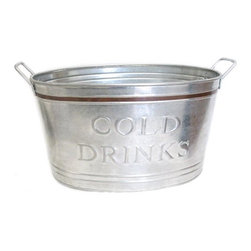 """Cold Drinks Tub with Metal Border, Copper - Fill this tub with ice and chill drinking jars or bottled beverages in it. With the """"cold drinks"""" label, thirsty guests will know exactly where to go for refreshments. And how great is that copper detailing?"""