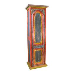Rustic Bars, Bar Stools and Wine Cabinets - This painted wood wine cabinet will add charm to your rustic or southwestern decor. It's small size makes it easy to fit in almost any space. The inside has 2 shelves, 2 wine racks and wine glass holders. Visit our website for more. Individually crafted, so expect slight variations in size and color pallet. Free Shipping in Continental U.S.