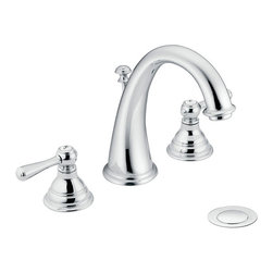 Moen - Moen T6125 Kingsley Two-Handle Chrome High Arc Bathroom Faucet - Kingsley offers a new way for enthusiasts of traditional style to make their bathrooms stand out. By combining a classic antique look with modern luxury, the Kingsley offers the best of both worlds delivering an inspired aesthetic to your home.