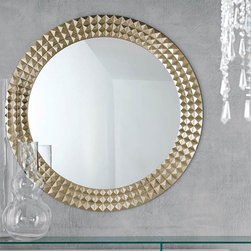 Egypt Round Wall Mirror By Cattelan Italia - Egypt Round Wall Mirror with silver and gold foil covered wood frame. The elegant design concentrates on a concoction of simplicity style and glamor. The modern look and feel especially with a wooden frame actually adds to the element of beauty especially when there is a halo of charm and grace.
