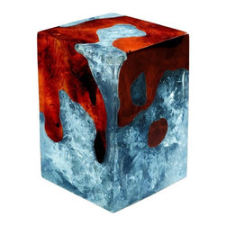 "Petrified Forests - Custom Cracked Resin Stool/Side Table, Baby Blue, Cherry Stained Wood, 24""x24""x2 - Our Cracked Resin pieces can be custom made in virtually any shade of wood stain and of cracked resin.  We created this tool to let you play around and use your imagination with the colors.  that we can create, only a starting point."